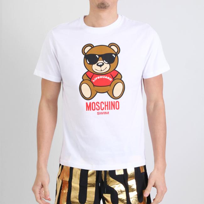 MOSCHINO モスキーノ 半袖Tシャツ 半袖 T LIFE GUARD TEDDY WHITE クルーネック ホワイト コットン メンズ 男性 【moschino モスキーノ】