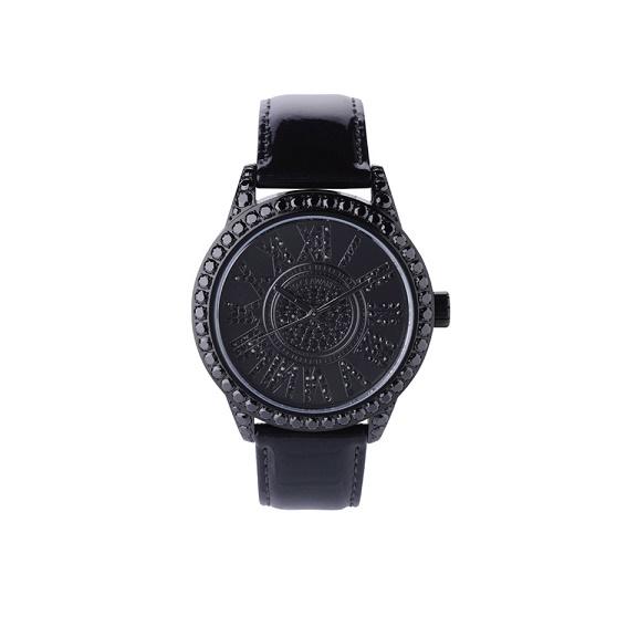 腕時計 メンズ スワロフスキー ジルコニア ブラック 日本製 クォーツ FACEAWARD DIAZ-S