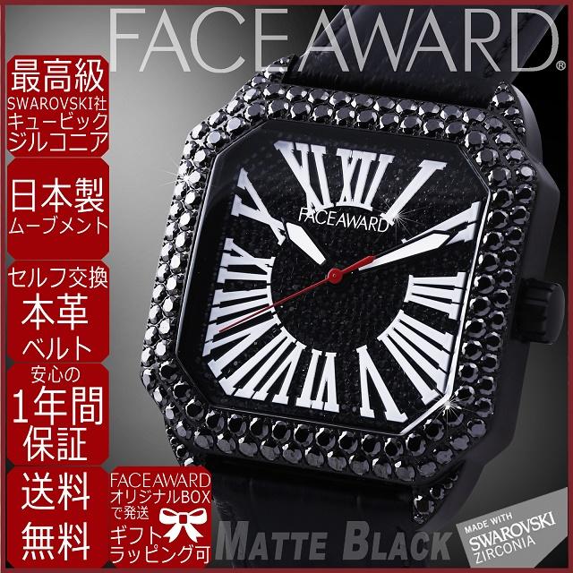 腕時計 メンズ 四角 スワロフスキー ジルコニア ブラック ギラギラ FACEAWARD