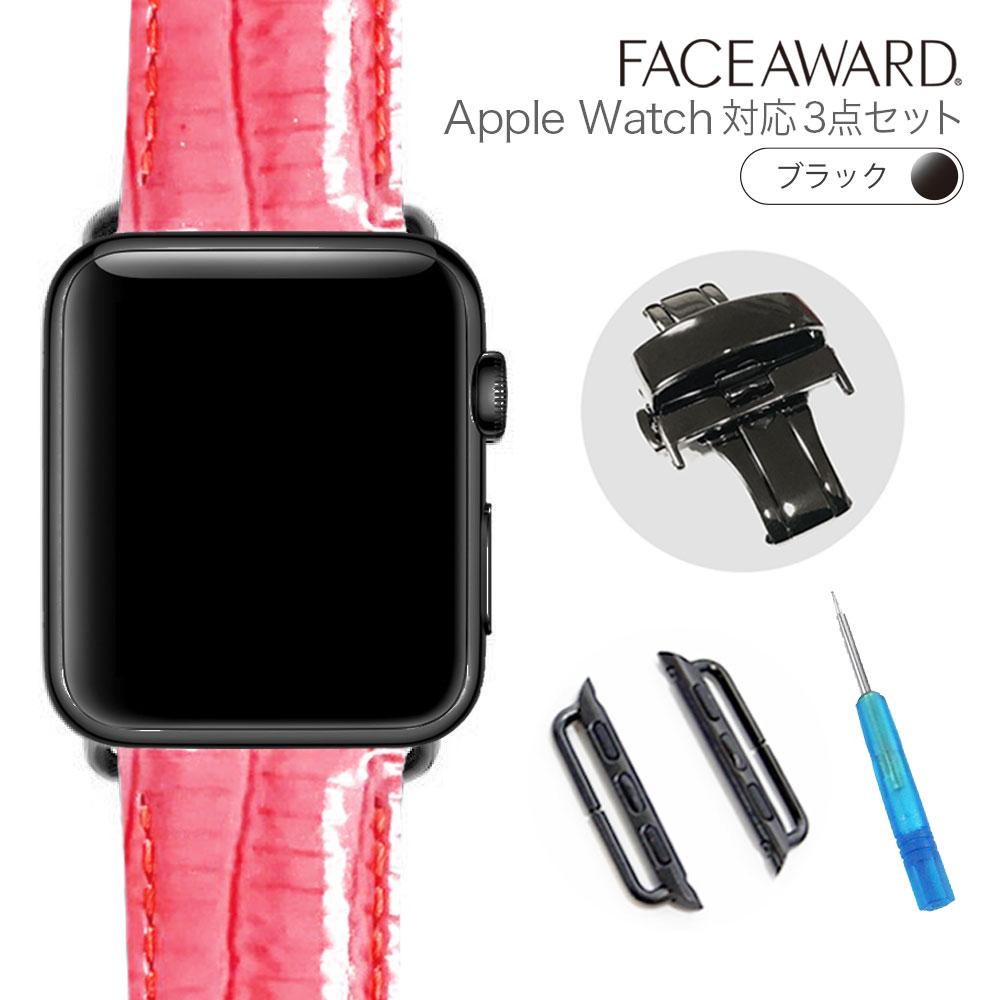 大人気 送料無料 Apple Watch バンド アップルウォッチ 44mm 42mm 40mm 38mm バックル_Black EU_アイステジュ 本革 ワンプッシュ式バックル アップルウォッチに装着可能 お洒落 バンド交換 簡単交換