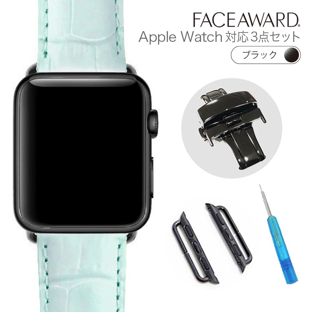 大人気 送料無料 Apple Watch バンド アップルウォッチ 44mm 42mm 40mm 38mm バックル_Black EU_マットクロコ 本革 ワンプッシュ式バックル アップルウォッチに装着可能 お洒落 バンド交換 簡単交換