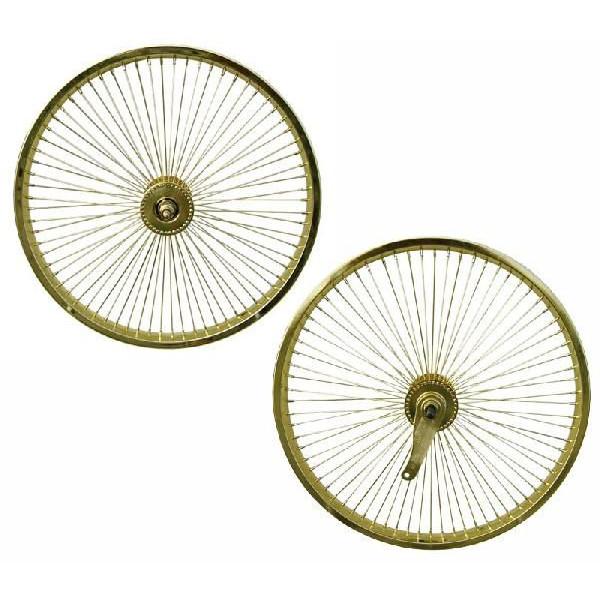 送料無料 72スポーク デイトン ホイール 前後セット ゴールド 20インチ 自転車部品 ローライダー 自転車 パーツ ビーチクルーザー アクセサリー カスタム 部品 改造 BMX MTB GRQ サイクルパーツ Schwinn シュウィン スティングレー エレクトラ レインボー コンプトン