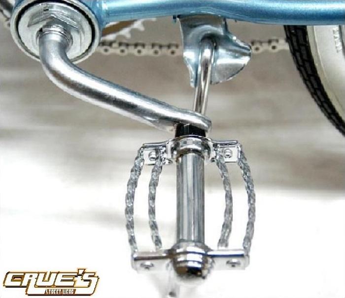 送料無料 自転車 パーツ ダブル ツイストペダル クローム ペダル ローライダー ビーチクルーザー アクセサリー 自転車部品 カスタム 部品 改造 BMX MTB ママチャリ サイクルパーツ ローライダー自転車 エレクトラ レインボー コンプトン