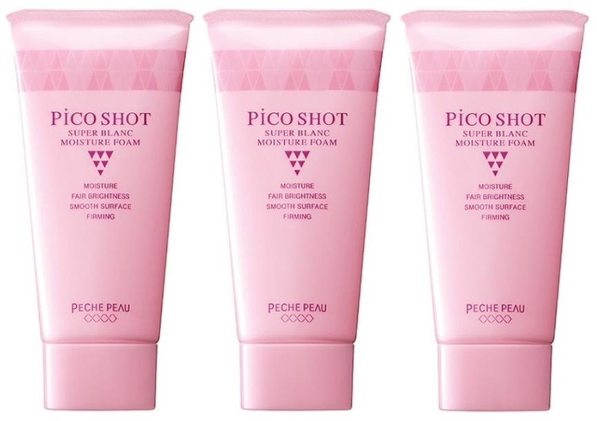 正規逆輸入品 PECHE PEAU ピーチポウ ショップ 洗顔フォーム ピコショット 送料無料 3本セット スーパーブランモイスチュアフォーム 95g