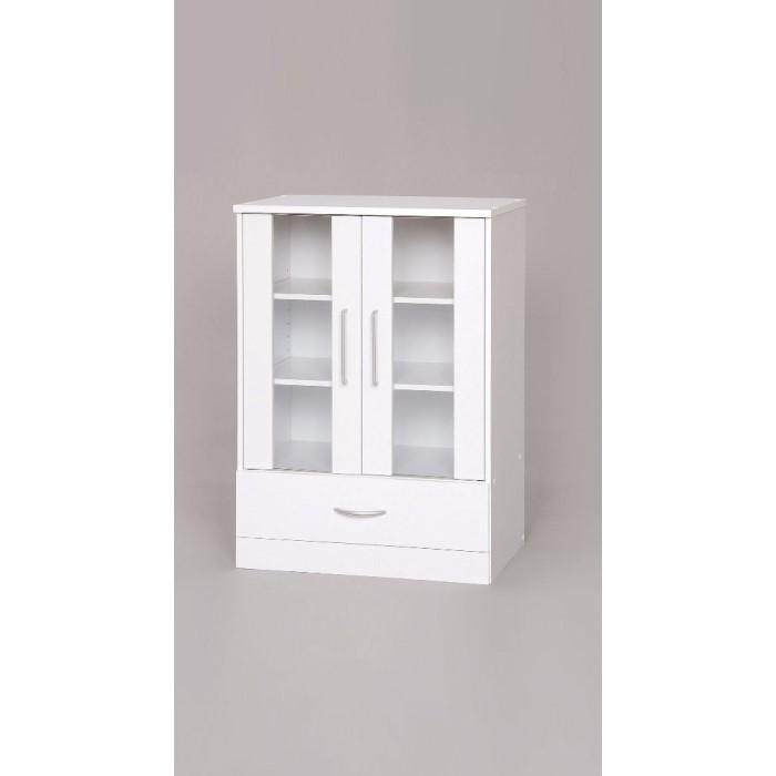ガラスキャビネット 【単品販売】ホワイト