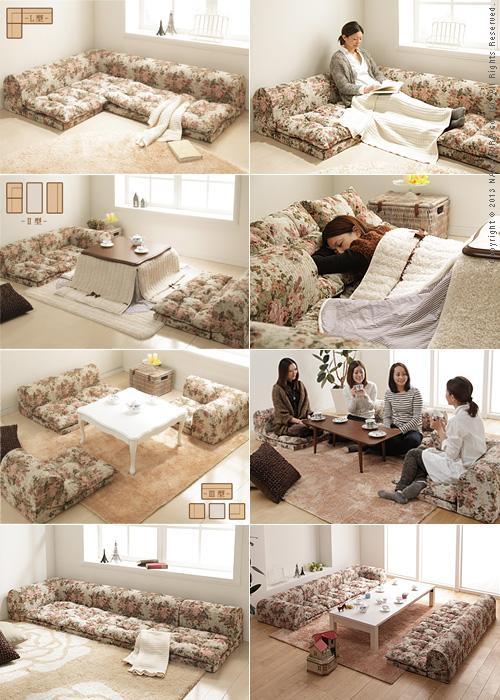 Free-style low sofa RelaQua [リラクア] Gobelin tapestry pattern floor sofa living sofa corner sofa