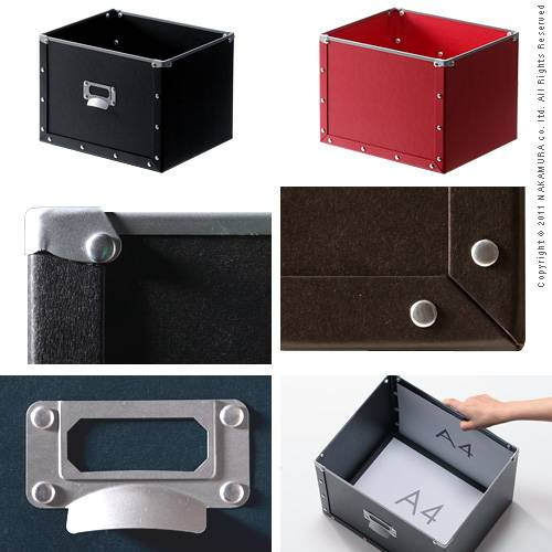 Milano design pulp box [Milan] nine color pairs storage box storage case hard pulp Red