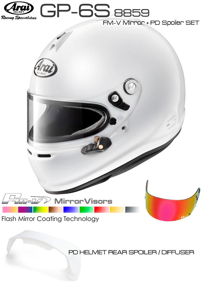 Arai アライ ヘルメット GP-6S 8859 + Fmvミラーバイザー + PDリアスポイラー セット SNELL SA/FIA8859規格 4輪公式競技対応モデル