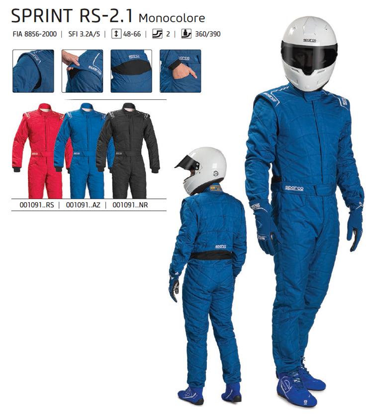 SPARCO スパルコ レーシングスーツ SPRINT RS-2.1 Monocolore (シングルカラー) FIA公認8856-2000 (001091)