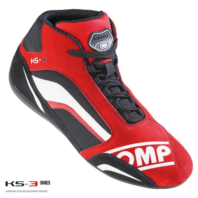 OMP KS-3 SHOES レッド×ブラック レーシングシューズ レーシングカート・走行会用(IC813060)
