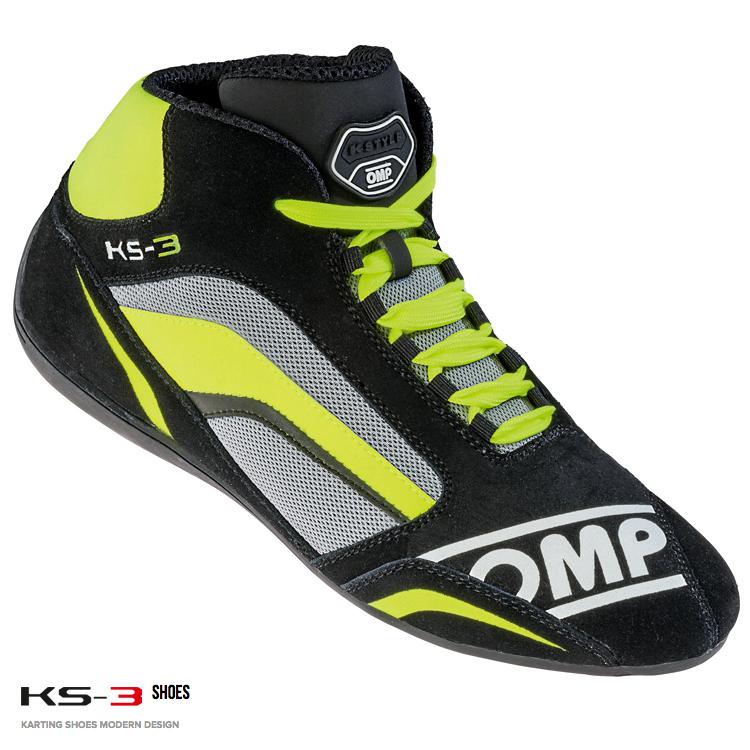 OMP KS-3 SHOES ブラック×グレー×イエロー レーシングシューズ レーシングカート・走行会用(IC813374)