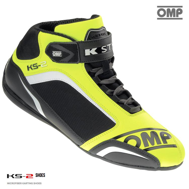 OMP KS-2 SHOES イエロー×ブラック×ホワイト レーシングシューズ レーシングカート・走行会用 (IC812059)