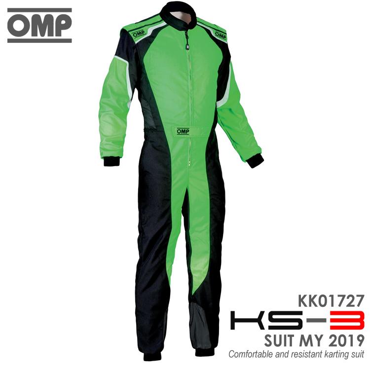 OMP KS-3 SUIT グリーン×ブラック レーシングスーツ CIK-FIA LEVEL-2公認 レーシングカート・走行会用 (KK01727274)