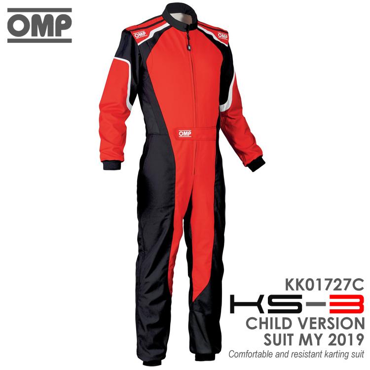 OMP KS-3 SUIT キッズ・ジュニア用 レッド×ブラック レーシングスーツ CIK-FIA LEVEL-2公認 レーシングカート・走行会用 (KK01727C073)