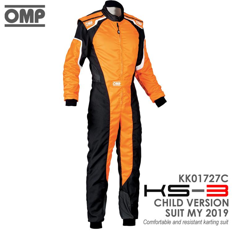 OMP KS-3 SUIT キッズ・ジュニア用 オレンジ×ブラック レーシングスーツ CIK-FIA LEVEL-2公認 レーシングカート・走行会用 (KK01727C179)