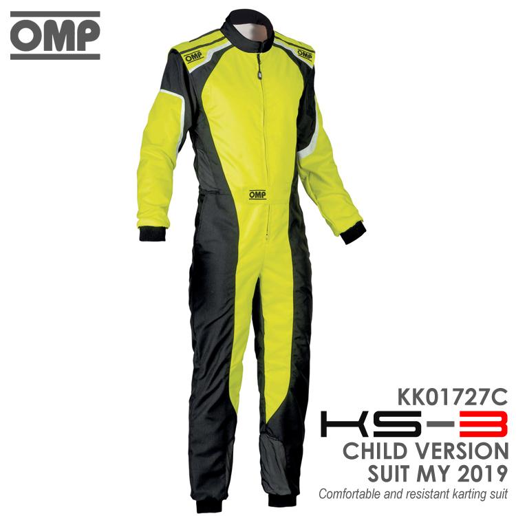 OMP KS-3 SUIT キッズ・ジュニア用 イエロー×ブラック レーシングスーツ CIK-FIA LEVEL-2公認 レーシングカート・走行会用 (KK01727C178)
