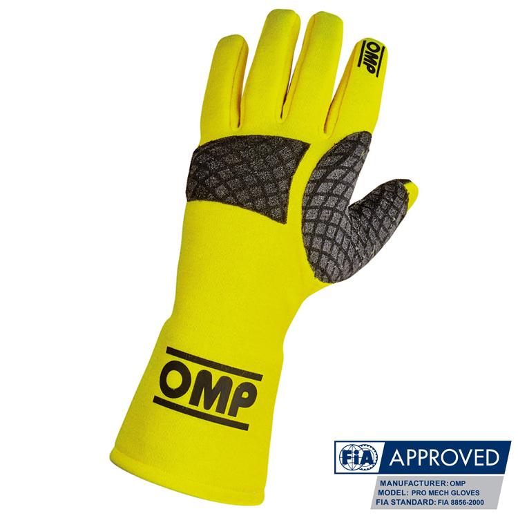 OMP Pro Mech Glove メカニックグローブ イエロー FIA 8856-2000公認 (IB758/GF)
