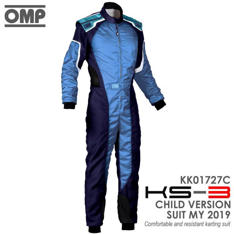 OMP KS-3 SUIT キッズ・ジュニア用 ブルー×シアン レーシングスーツ CIK-FIA LEVEL-2公認 レーシングカート・走行会用 (KK01727C242)