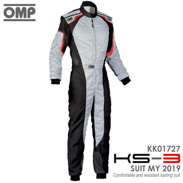 OMP KS-3 SUIT グレー×ブラック レーシングスーツ CIK-FIA LEVEL-2公認 レーシングカート・走行会用 (KK01727089)