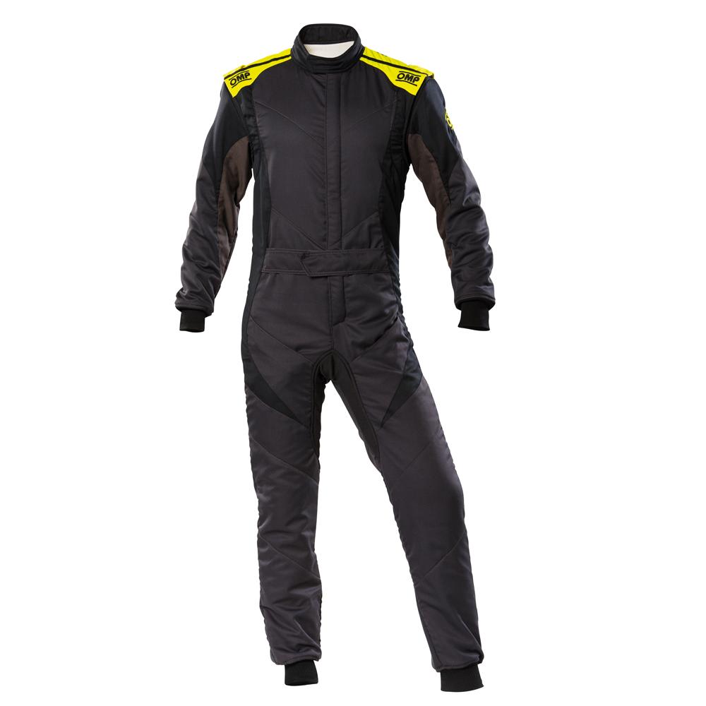 2020モデル OMP FIRST-EVO SUIT アンスラサイト 蛍光イエロー レーシングスーツ FIA8856-2018公認 Anthracite/black/fluo yellow (184)