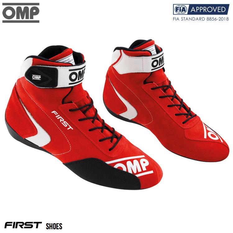 2020モデル OMP FIRST SHOES レッド(赤) レーシングシューズ FIA公認8856-2018 RED (061)