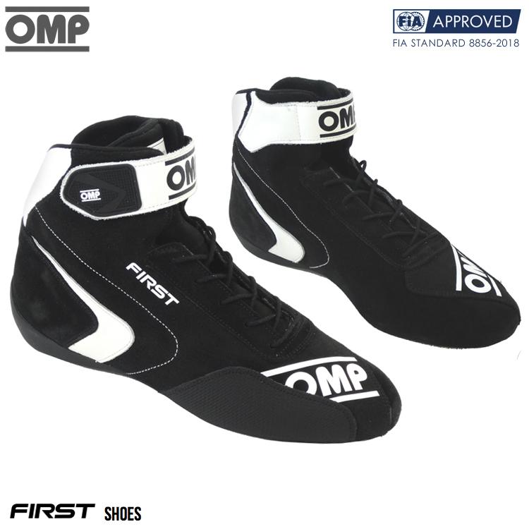 2020モデル OMP FIRST SHOES ブラック×ホワイト(071) レーシングシューズ FIA公認8856-2018 BLACK