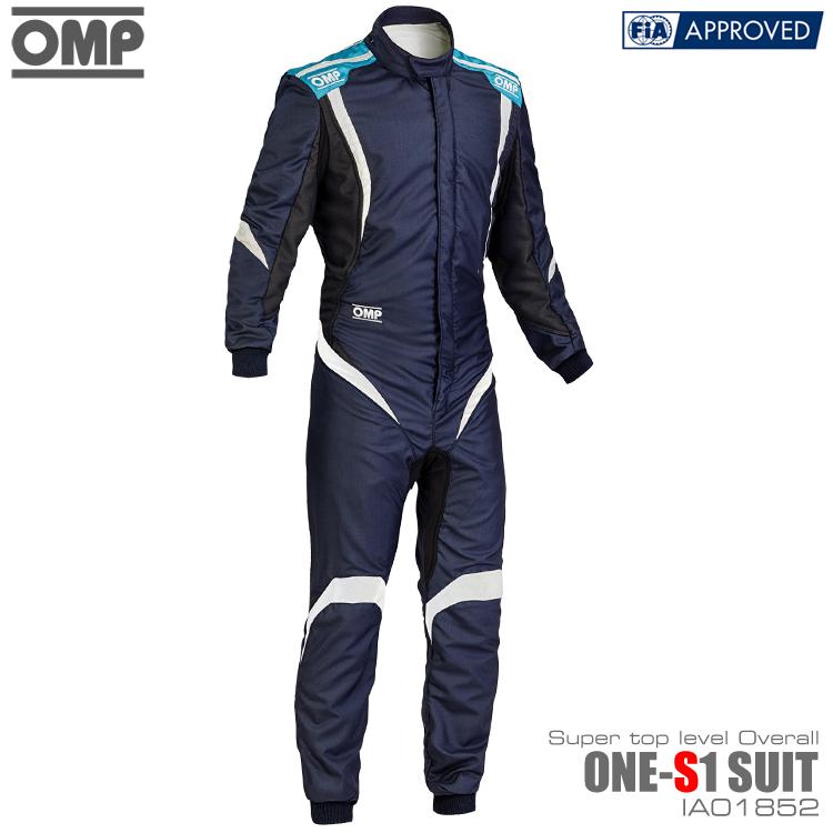 OMP ONE S1(エスワン) SUIT ネイビーブルー×シアン×ホワイト レーシングスーツ FIA8856-2000公認 (IA01852244)