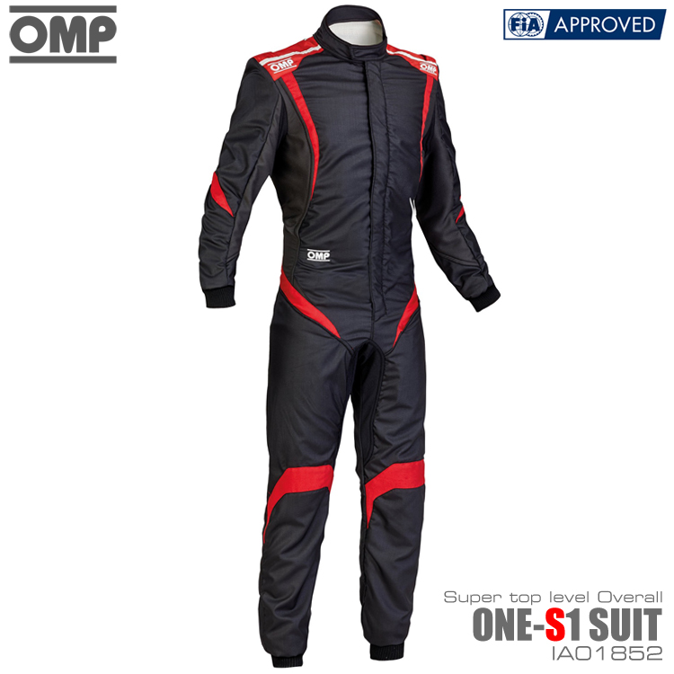 OMP ONE S1(エスワン) SUIT ブラック×アンスラサイト×レッド レーシングスーツ FIA8856-2000公認 (IA01852073)