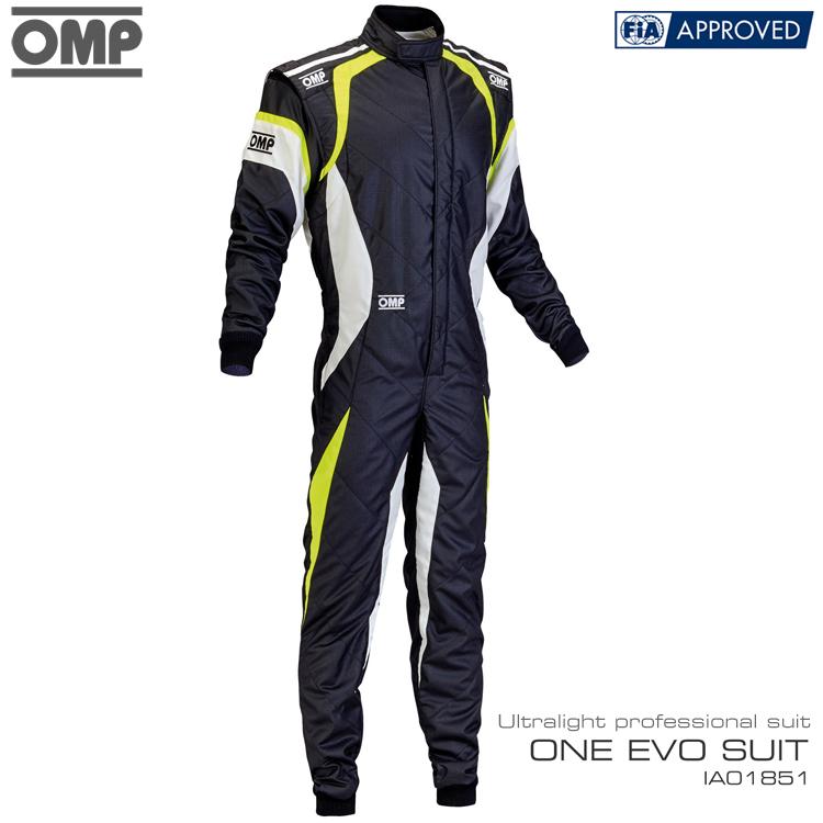 OMP ONE EVO SUIT ブラック×ホワイト×イエロー レーシングスーツ FIA8856-2000公認 (IA01851178)