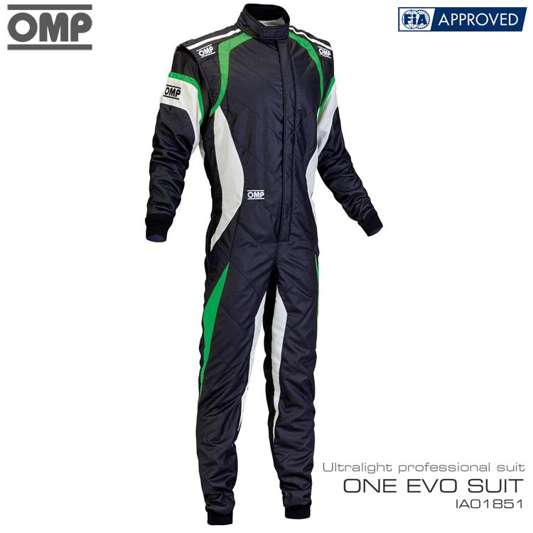即納最大半額 ハイエンドモデル 2016-20モデル OMP ONE EVO SUIT IA01851270 レーシングスーツ FIA8856-2000公認 ブラック×ホワイト×グリーン ブランド激安セール会場