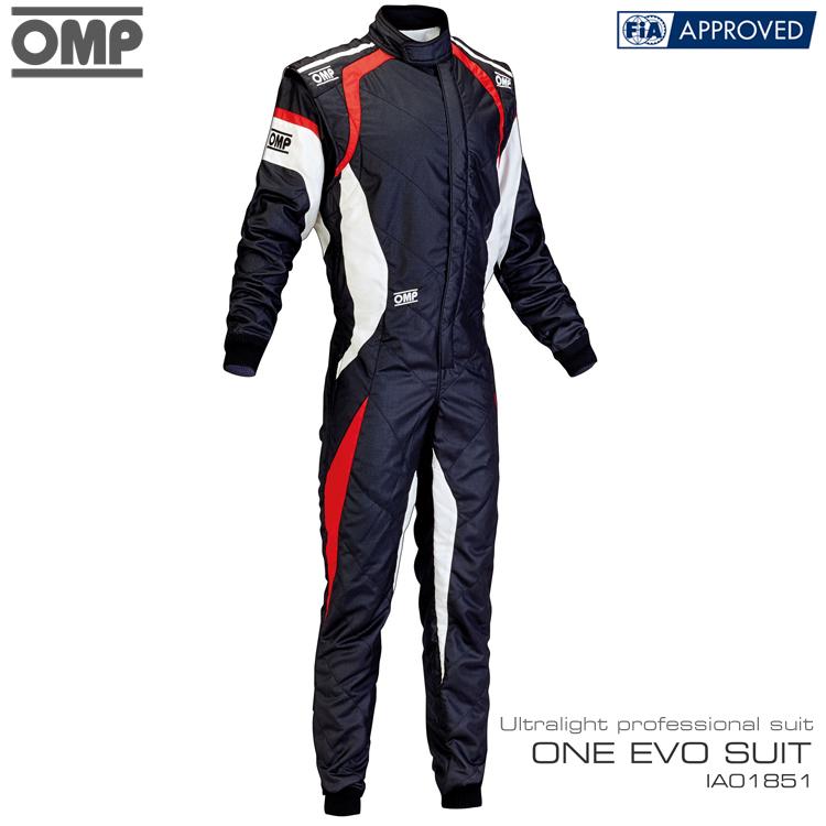 OMP ONE EVO SUIT ブラック×ホワイト×レッド レーシングスーツ FIA8856-2000公認 (IA01851076)