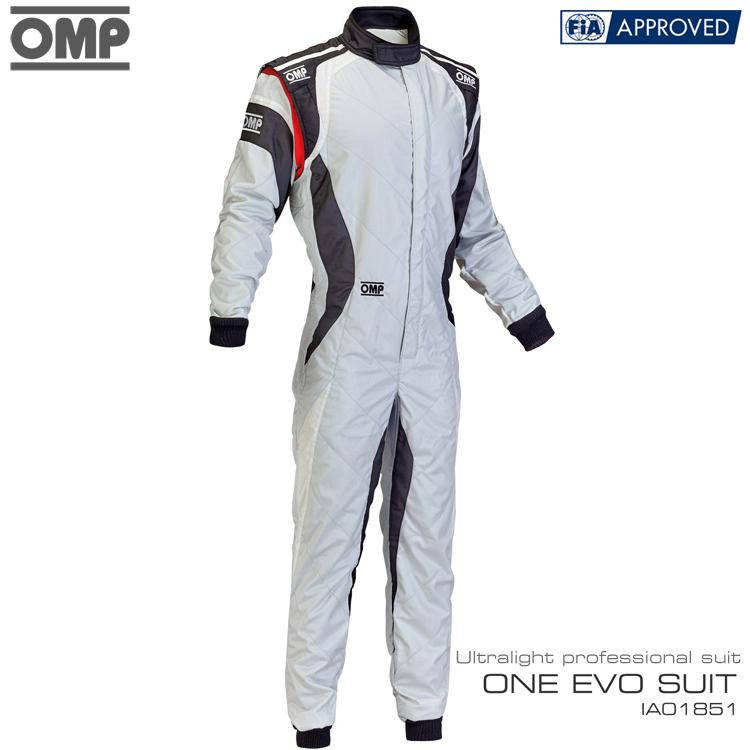 manufacture2018モデル アウトレットセール OMP ONE 休み EVO SUIT ライトグレー×ブラック×ホワイト IA01851089 50サイズ 授与 レーシングスーツ FIA8856-2000公認