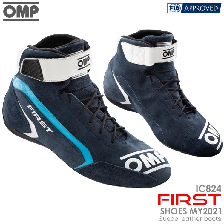 買収 FIA新規格モデル 2021NEWモデル OMP FIRST SHOES ネイビー×シアン レーシングシューズ 242 IC NAVY×CYAN FIA公認8856-2018 受注生産品 824242