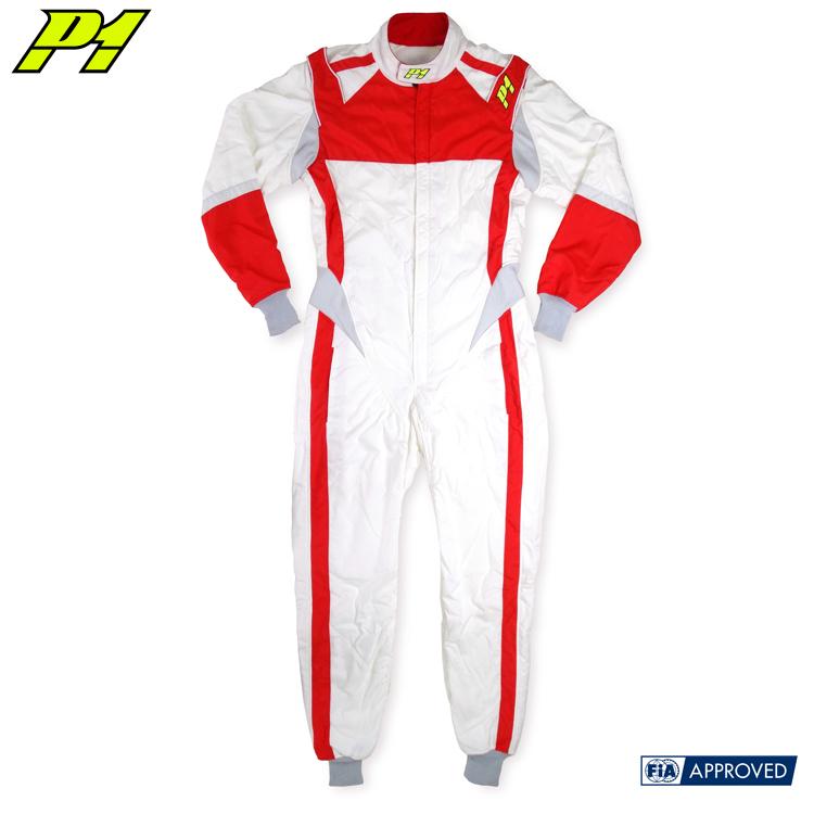 アウトレットセール!P1 RACINGSUIT RS レッド×ホワイト サイズS(165-175cm相当) レーシングスーツ FIA8856-2000公認