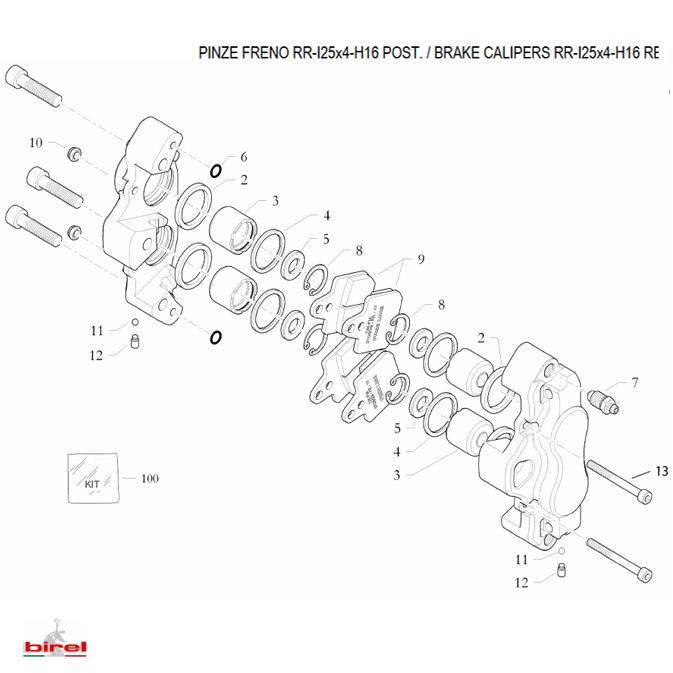 birel ビレル リアブレーキ 4ポッドキャリパー RR-I25×4 H16/A HQ (10.10429.00-NE) レーシングカート用