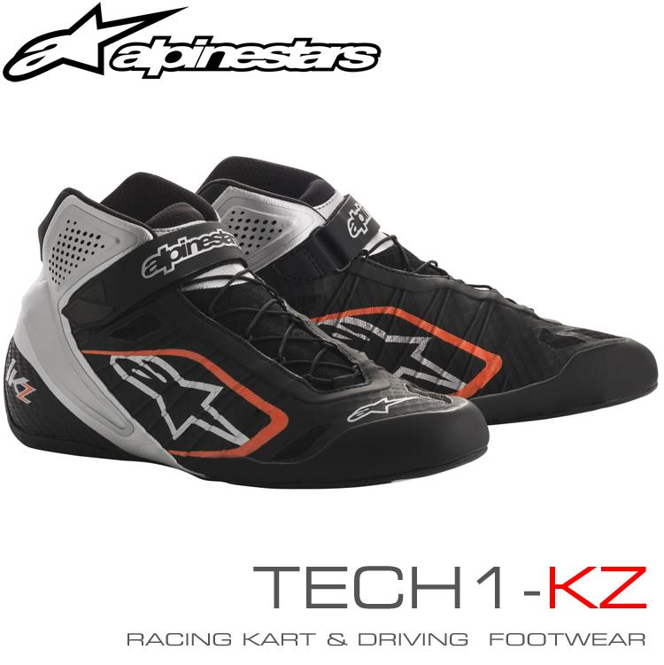 アルパインスターズ レーシングシューズ TECH1-KZ ブラック×シルバー×オレンジフルーオ(1114) レーシングカート・走行会用 (2713018-1114)