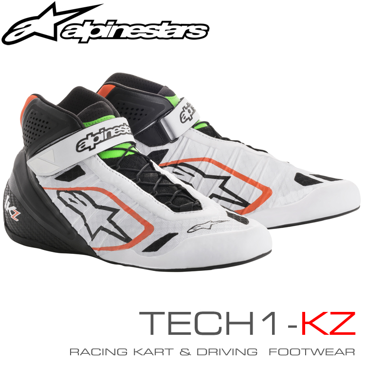 2018-19モデル アルパインスターズ レーシングシューズ TECH1-KZ ホワイト×ブラック×オレンジ×グリーンフルーオ(2146) レーシングカート・走行会用 (2713018-2146)