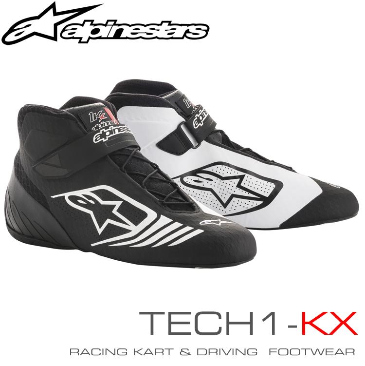 2018-19モデル アルパインスターズ レーシングシューズ TECH1-KX ブラック×ホワイト(12) レーシングカート・走行会用 (2712118-12)