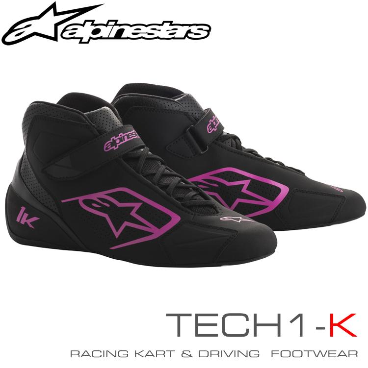 2018-19モデル アルパインスターズ レーシングシューズ TECH1-K ブラック×フクシャ (1039) レーシングカート・走行会用 (2712018-1039)