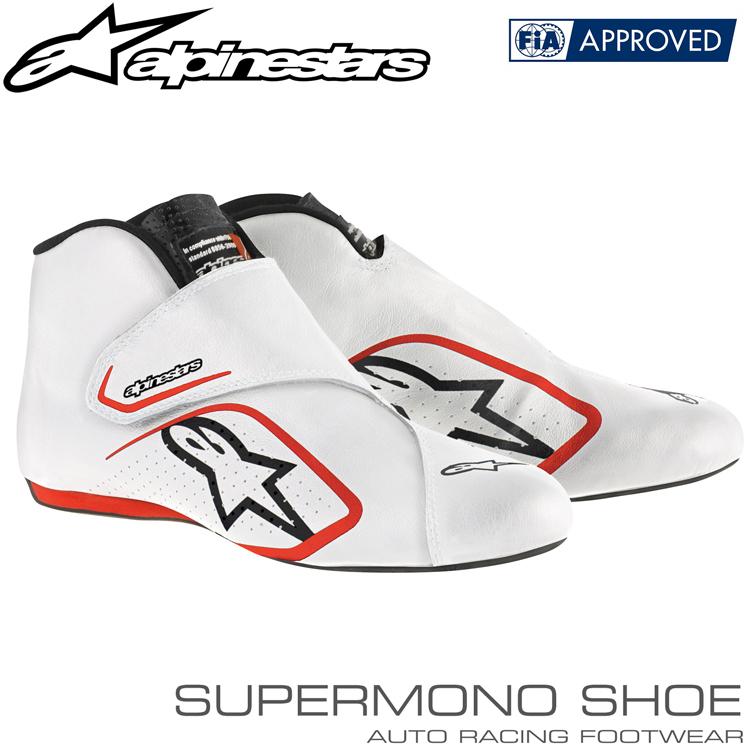 2015-19モデル アルパインスターズ レーシングシューズ SUPERMONO SHOES ホワイト×レッド(23) FIA8856-2000公認モデル