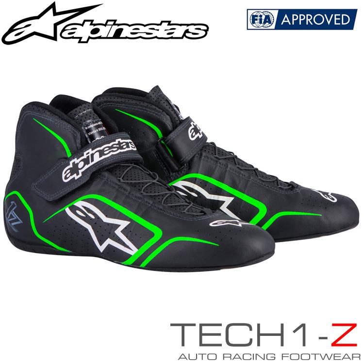 2015-18モデル アルパインスターズ レーシングシューズ TECH1-Z ブラック×フルーオグリーン (167) FIA8856-2000公認モデル (2715015-167)