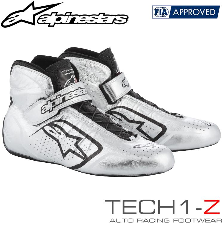 2015-19モデル アルパインスターズ レーシングシューズ TECH1-Z シルバー×ブラック(191) FIA8856-2000公認モデル (2715015-191)