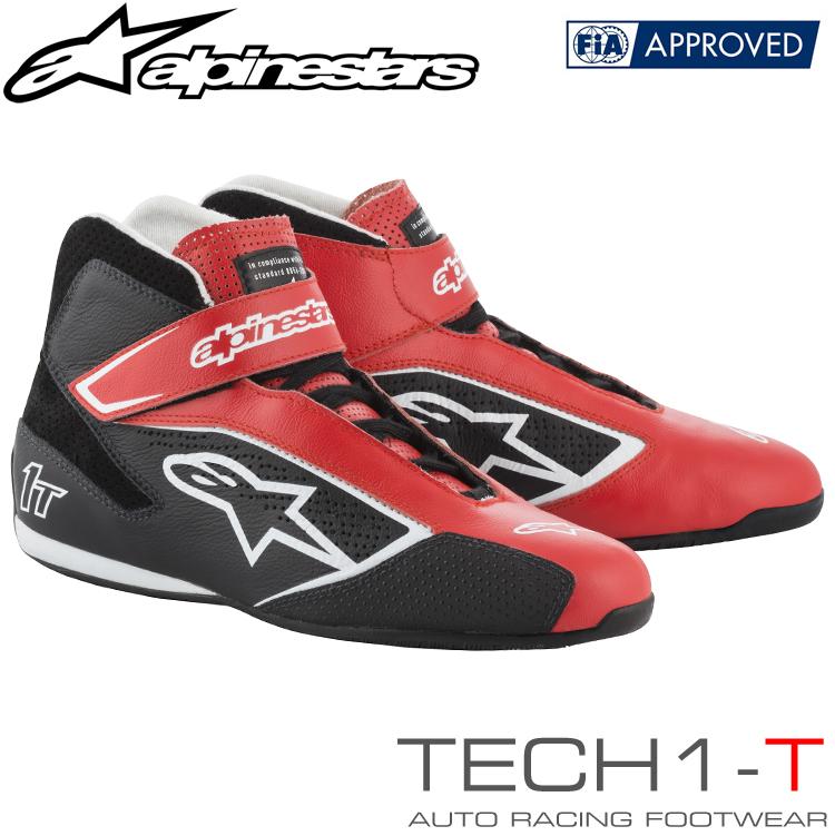 アルパインスターズ レーシングシューズ TECH1-T レッド×ブラック×ホワイト(312) FIA8856-2000公認モデル (2710019-312)