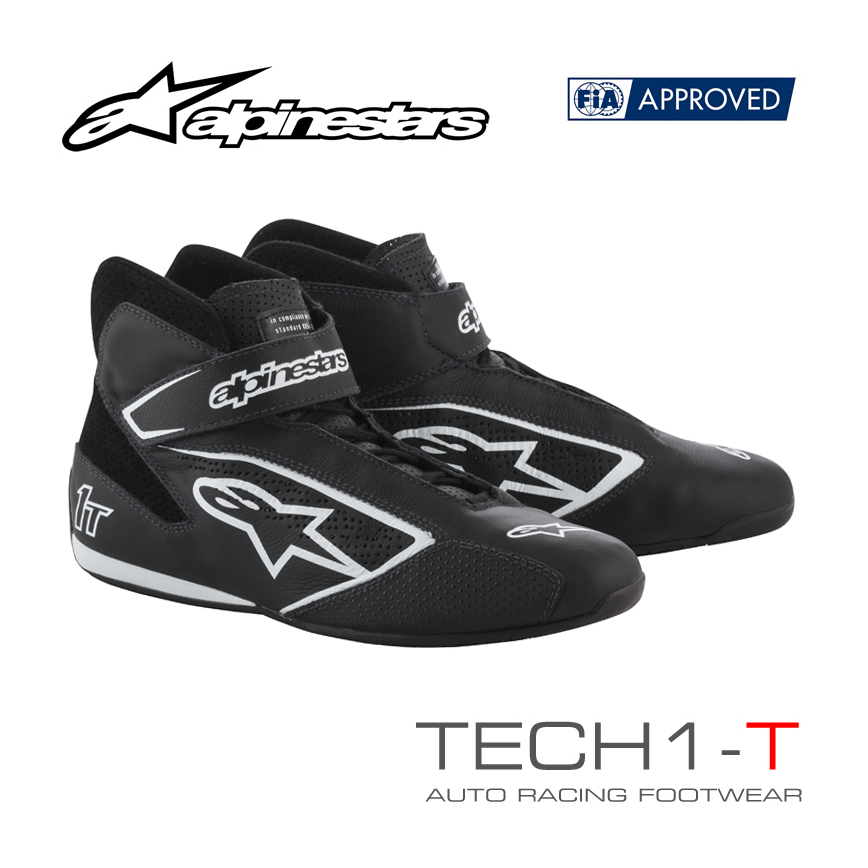 アルパインスターズ レーシングシューズ TECH1-T ブラック×ホワイト(12) FIA8856-2000公認モデル (2710019-12)