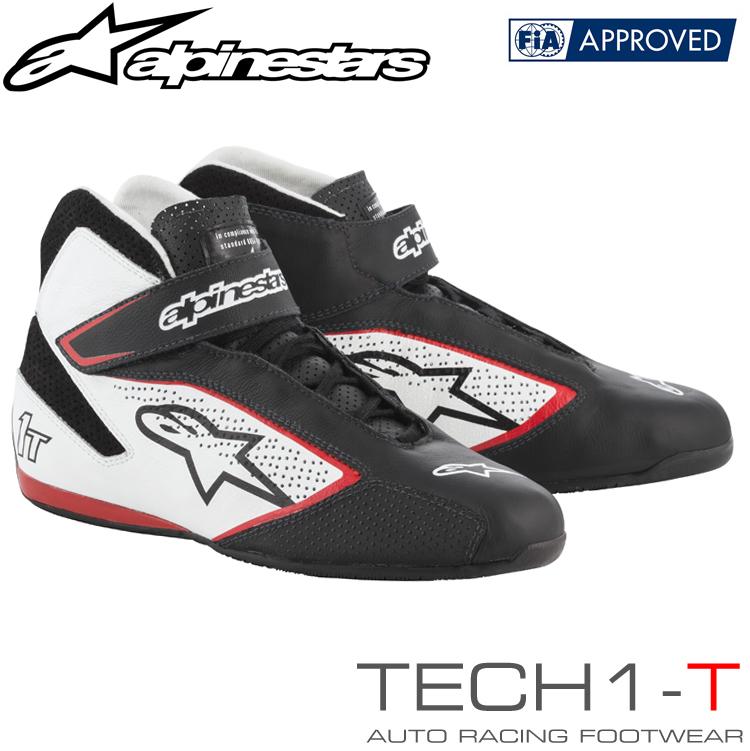 アルパインスターズ レーシングシューズ TECH1-T ブラック×ホワイト×レッド(123) FIA8856-2000公認モデル (2710019-123)