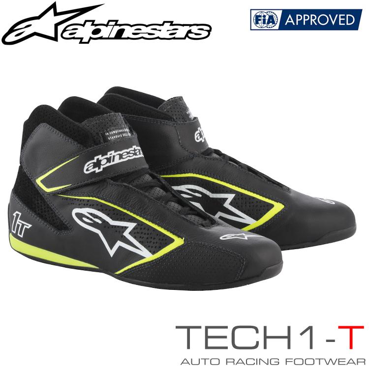 アルパインスターズ レーシングシューズ TECH1-T ブラック×ホワイト×イエロー フルーオ(125) FIA8856-2000公認モデル (2710019-125)