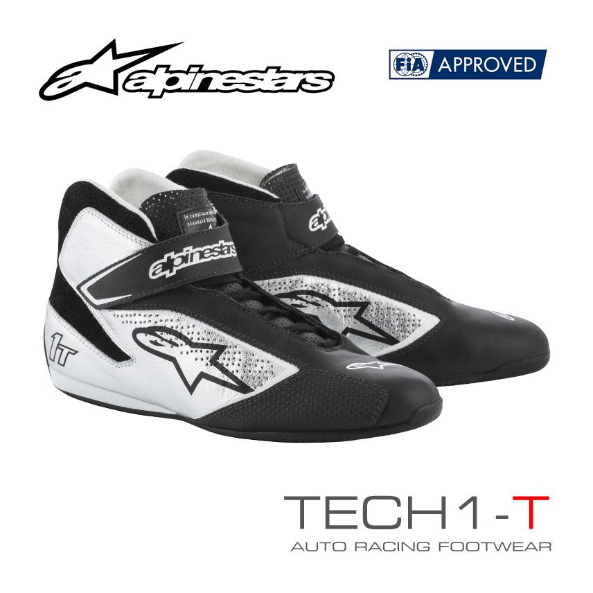 アルパインスターズ レーシングシューズ TECH1-T ブラック×シルバー(119) FIA8856-2000公認モデル (2710019-119)