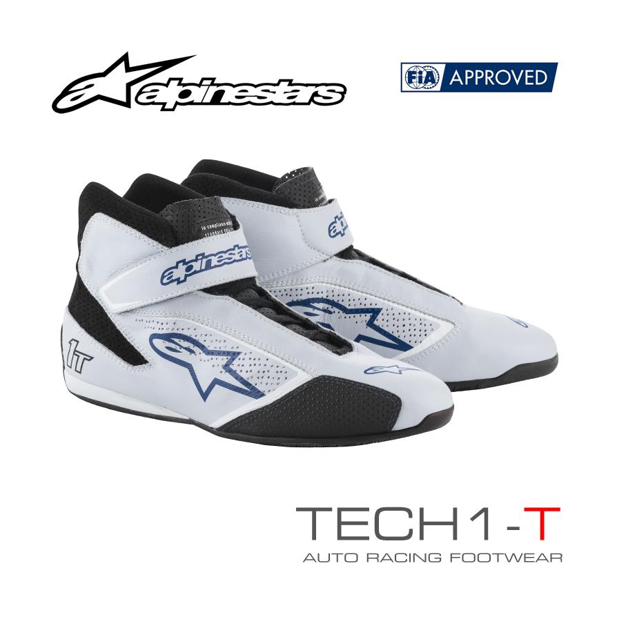 アルパインスターズ レーシングシューズ TECH1-T シルバー×ブルー(197) FIA8856-2000公認モデル (2710019-197)