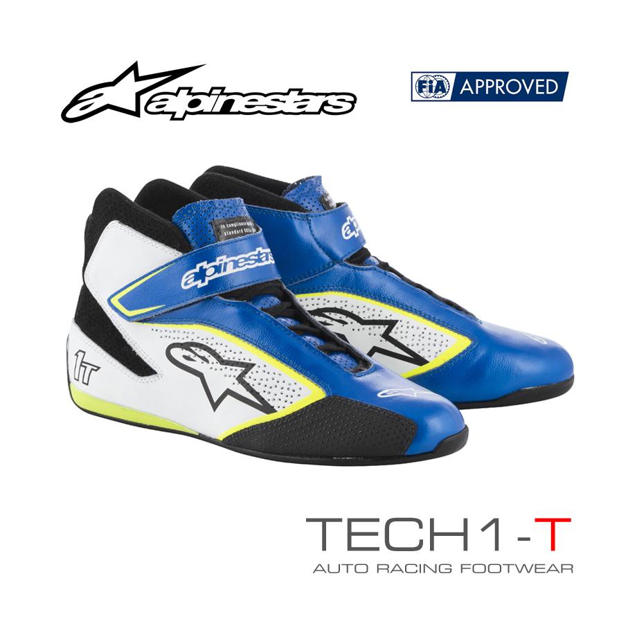 アルパインスターズ レーシングシューズ TECH1-T ブルー×ホワイト×イエロー フルーオ(758) FIA8856-2000公認モデル (2710019-758)