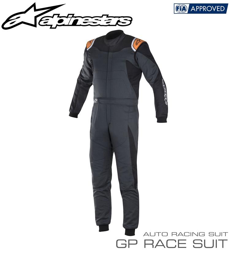 2018-19モデル アルパインスターズ GP RACE SUIT アンスラサイト×ブラック×オレンジ(1042) レーシングスーツ FIA8856-2000公認モデル (3355017-1042)
